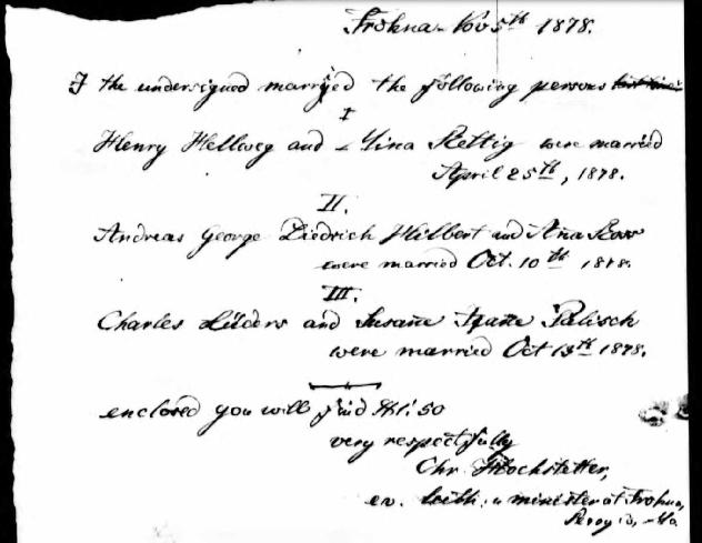Hellwege Rettig marriage record Perry County MO