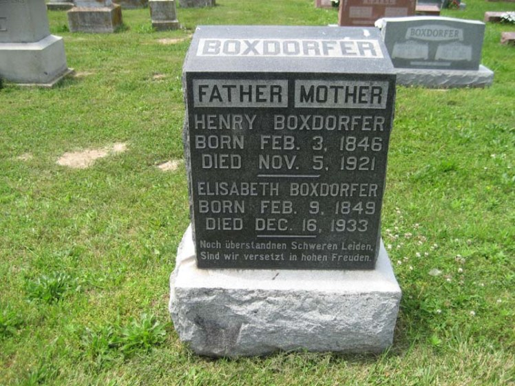 Henry and Elisabeth Boxdorfer gravestone Immanuel Perryville MO