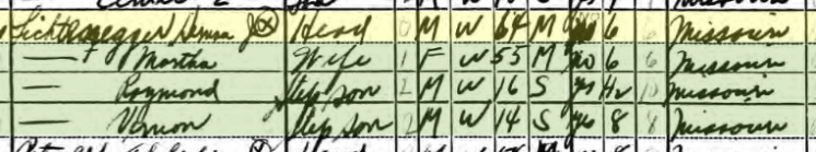 Herman Lichtenegger 1940 census Brazeau Township MO