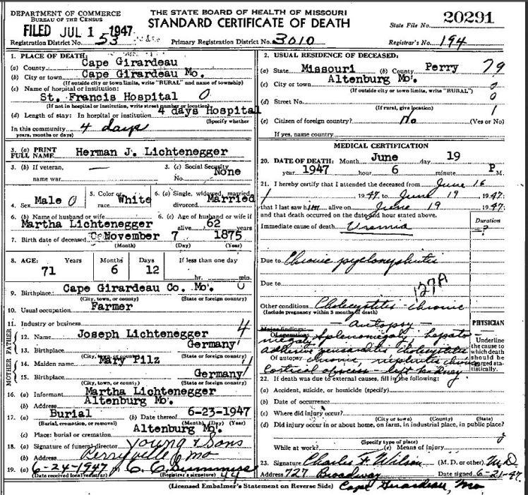 Herman Lichtenegger death certificate