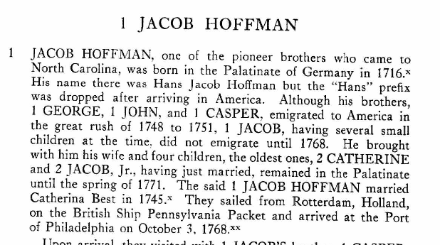 Jacob Hoffman Hoffmans of NC