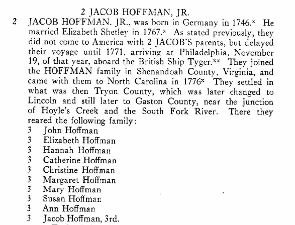 Jacob Hoffman Junior Hoffmans of NC
