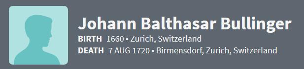 Johann Balthasar Bullinger 1660 Ancestry