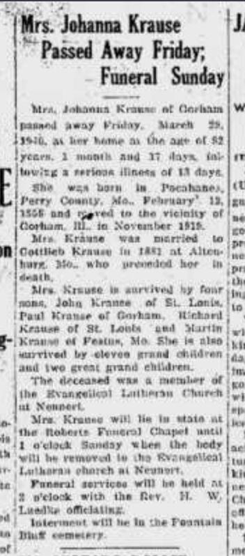 Johanna Krause obituary