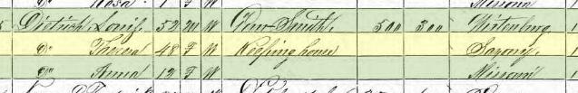 Johanna Oehlert 1870 census Wittenberg MO Dietrich