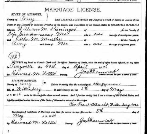 Kieninger Mueller marriage license