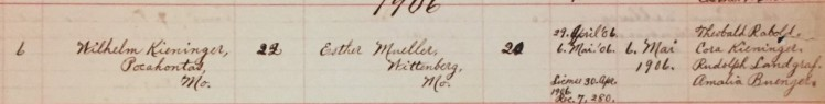 Kieninger Mueller marriage record St. Paul's Wittenberg MO