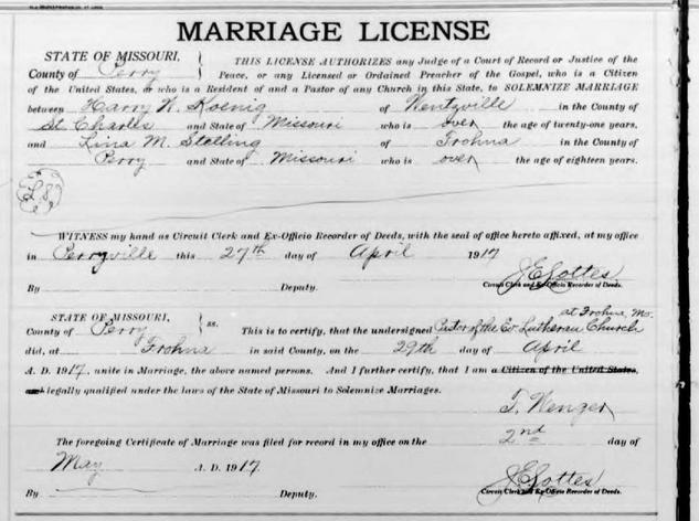 Koenig Stelling marriage license