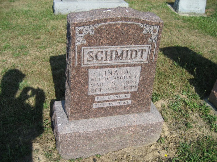 Lina Schmidt gravestone Trinity Altenburg MO