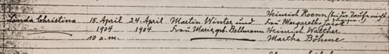 Linda Winter baptism record Trinity Altenburg MO