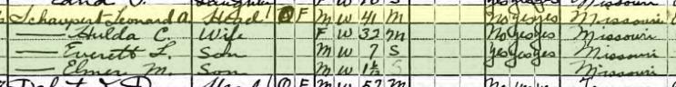 Lonnie Schaupert 1920 census Cinque Hommes Township MO