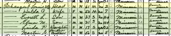 Lonnie Schaupert 1940 census Cinque Hommes Township MO