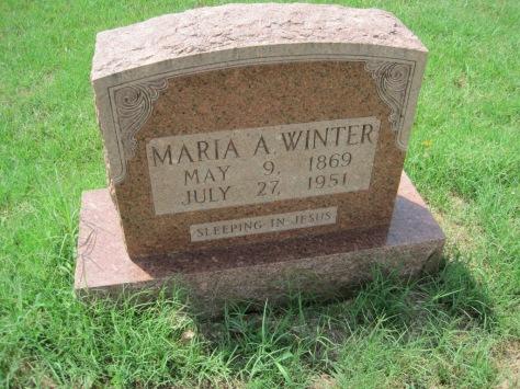 Maria Winter gravestone Zion Pocahontas MO