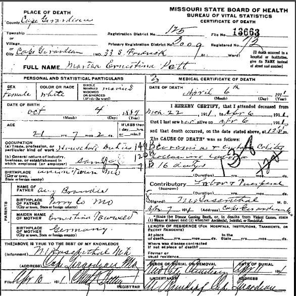 Martha Pott death certificate