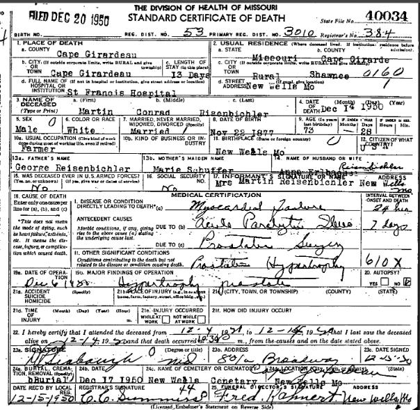 Martin Reisenbichler death certificate