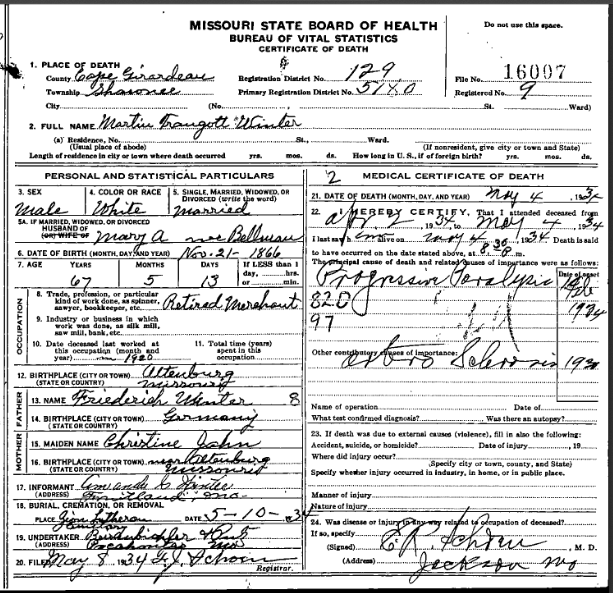 Martin Winter death certificate