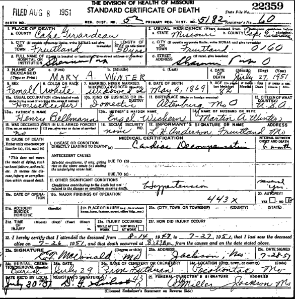 Mary Winter death certificate