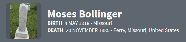 Moses Bollinger 1818 Ancestry