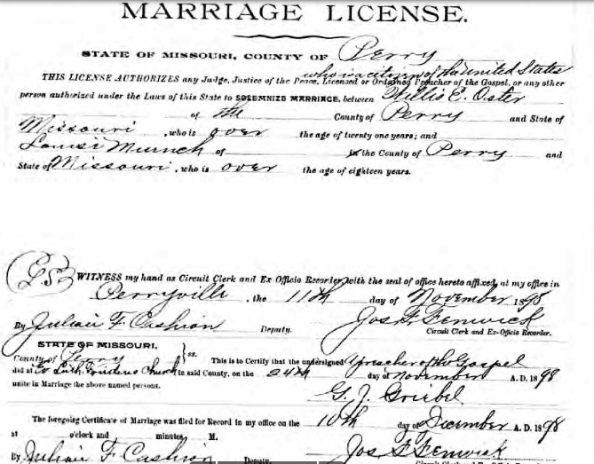 Oster Muench marriage license