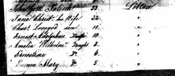 Palisch family Johann Georg passenger list Jan 7, 1839