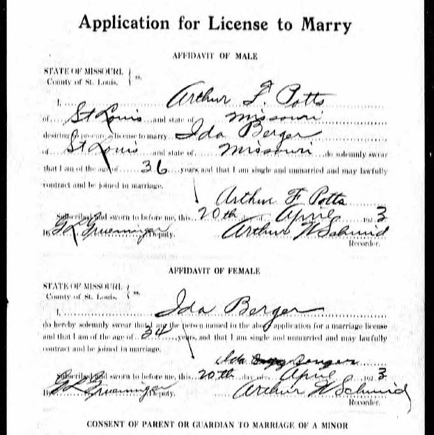 Pott Berger marriage application