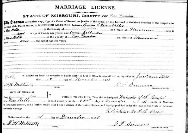 Reisenbichler Ehlbacher marriage license