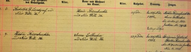 Reisenbichler Erlbacher marriage record Immanuel New Wells NO