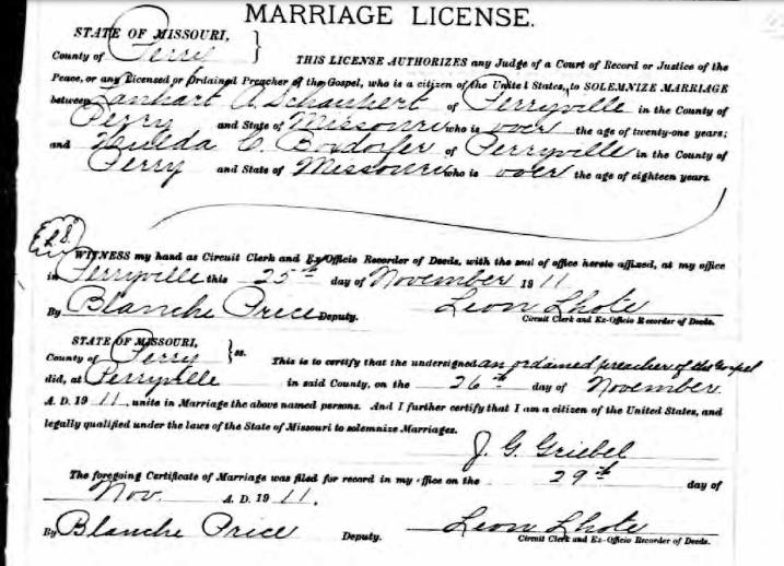 Schaupert Boxdorfer marriage license