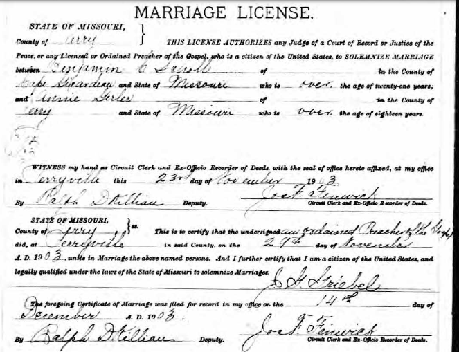 Scholl Gerler marriage license