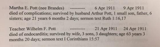 William and Martha Pott death records Trinity Cape Girardeau MO