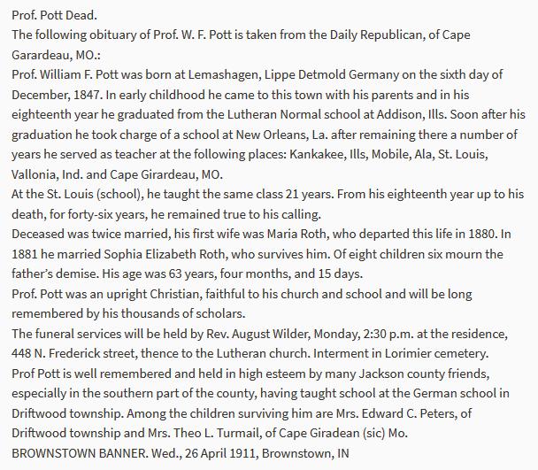 William Pott obituary