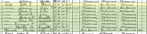Willis Oster 1910 census Salem Township MO