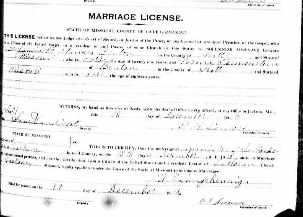 Adams Tirmenstein marriage license