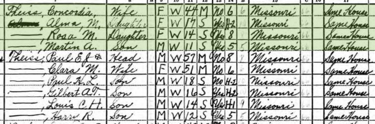 Alfred Theiss 1940 census 2 Brazeau Township MO