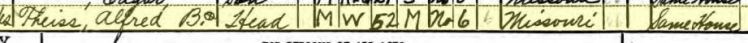 Alfred Theiss 1940 census Brazeau Township MO