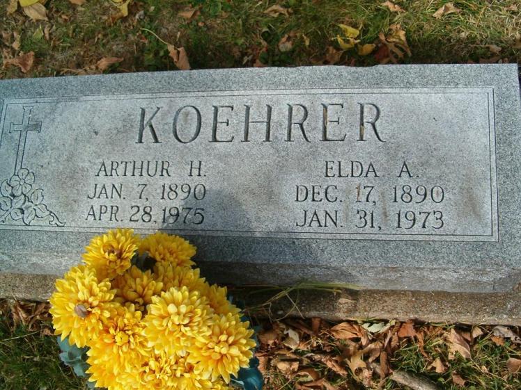 Arthur and Elda Koehrer gravestone Zion Pevely MO