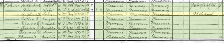 Arthur Koehrer 1900 census Cape Girardeau MO
