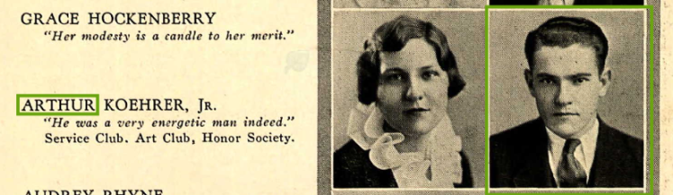 Arthur Koehrer Jr. High School Yearbook photo 1933