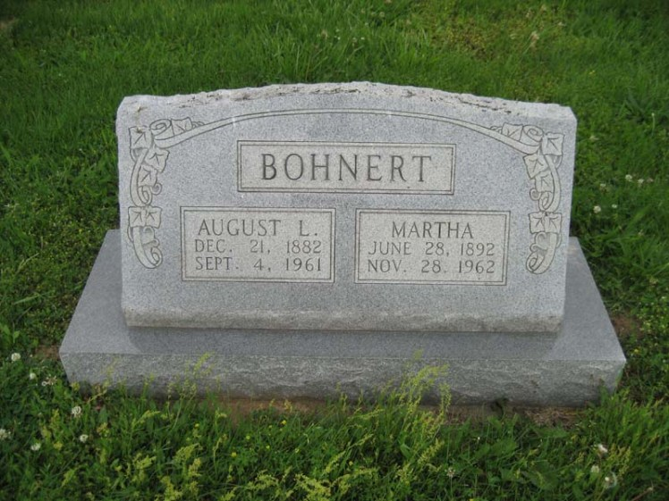 August and Martha Bohnert gravestone Immanuel Perryville MO