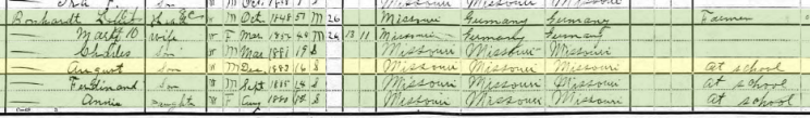 August Bohnert 1900 census Cinque Homme Township MO