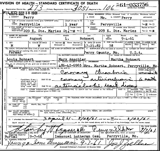 August Bohnert death certificate