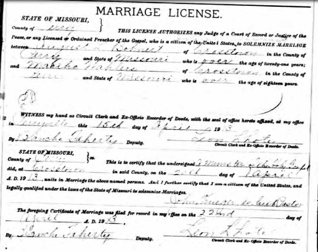August Bohnert Martha Wahlers marriage license