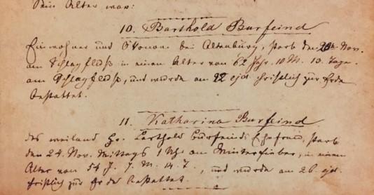 Bartold and Katharina Burfeind death records Trinity Altenburg MO