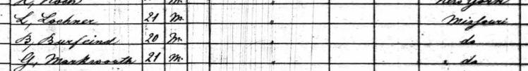 Bartold Burfeind 1860 census St. Louis MO