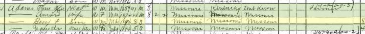 Benjamin Adams 1900 census Moreland Township MO