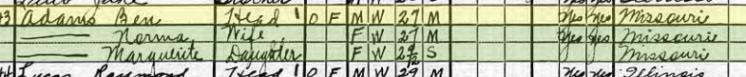 Benjamin Adams 1920 census Moreland Township MO