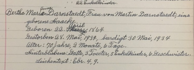 Bertha Darnstaedt death record Christ Jacob IL