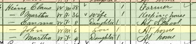 Claus Heins 1880 census Brazeau Township MO