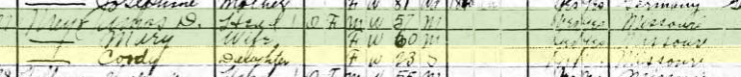Concordia Meyr 1920 census Shawnee Township MO
