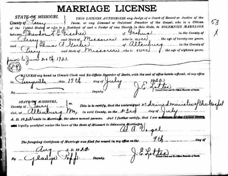 Fischer Gerler marriage license
